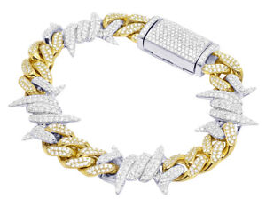 "10K Yellow/ White Gold Thorn Cuban Real Diamond Bracelet 9.5CT 8"" 11MM"