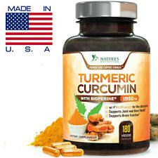 Turmeric Curcumin Extra Strength 1950mg with Bioperine (Black Pepper) 180 Caps