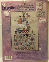 "VTG Bucilla Counted Cross Stitch American Alphabet Sampler 9""x15"" 42852 Baby"