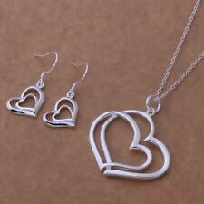 beautiful Fashion Wedding women silver plated  Heart Earring Necklace set AT237