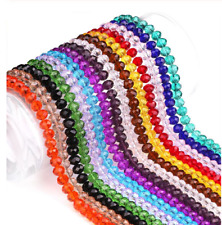 3mm/4mm/6mm/8mm/10mm Rondelle Faceted Crystal Glass Spacer Loose Beads DIY Craft
