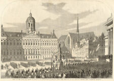 King & Queen of Holland in Amsterdam. National Guard parading. Netherlands 1861