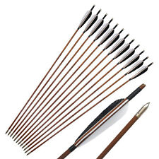 12Pcs Traditional Feather Bamboo Arrows for Recurve Bow Longbow Archery Hunting