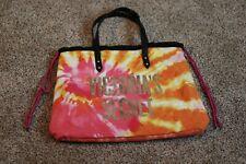 Victorias Secret Tie Dye Beach Bag Tote Pink Orange NWT