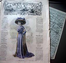 LA MODE ILLUSTREE + PATRON,  n° 28/1909 Voir modèles à réaliser, FRENCH PATTERN
