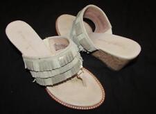 TOMMY BAHAMA 7.5 Melita silver gold leather fringe cork wedge slides sandals