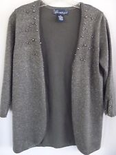 Susan Graver Style Womens Sweater XS Gray Metallic Embellished Open Cardigan