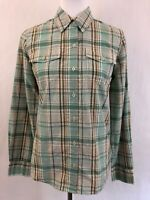 Patagonia Women's Button Front Shirt Sz 4 Plaid Long Sleeve Aqua Peach Top
