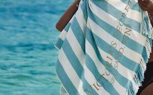 New Victoria's Secret Sea Stripe Cabana Beach Towel - Teal 34 x 66 inches- NEW