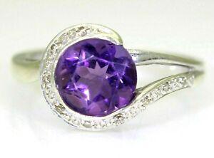 Striking Amethyst & Diamond 9ct White Gold ring O 1/2 ~ 7 1/2