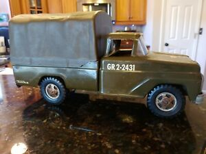 1960's Tonka #380 Troop Carrier GR2-2431 US Army Military Metal Truck w/ Canopy