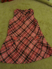 Pink & Black Check Long Thick Cotton Dress - 2 - 3 years