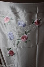 CHINESE HAND EMBROIDERED PEONIES ON SATIN SILK TABLE CLOTH