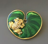 Unique frog on Lily  pad brooch n enamel on gold tone metal