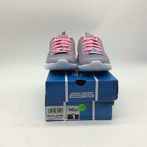 Skechers Kids Sneaker, Grey/Pink, 1 Medium US Little Kid
