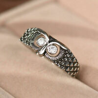 Ring 7-14 Men Women Size Owl Jewelry Silver Animal Cute Vintage Wedding Gift