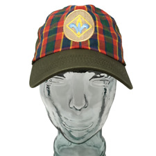 Fleur Di Lis Baseball Cap Hat Plaid Green Red Adjustable Snapback Size S/M