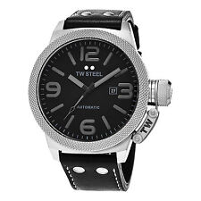 TW Steel Men's Canteen Black Dial Black Leather Strap Automatic Watch TWA201