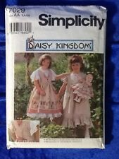 Simplicity 7029 Daisy Kingdom Size Aa 3,4,5,6 Child's And Doll Clothes