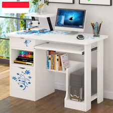 New Computer Desk with Drawers Storage Shelf Keyboard Tray Laptop Table White UK