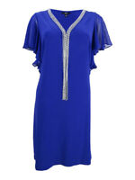 MSK Women's Embellished Flutter-Sleeve Dress S, Moroccan Blue