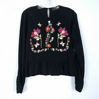 KINDLE embroidered boho peasant blouse long sleeve Peplum top Women's size L
