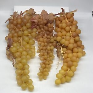 """3 Vintage Faux Grape Bunches Rare Red/White Colors Extra Long 2x 15"""" 1x 13"""" NICE"""