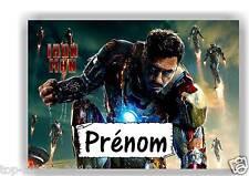 Plaque de porte en ( sur ) bois Iron Man avec prénom   N° 126