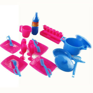 18PCS Barbie Doll Cooking Tools Kit Home Kitchen Dining Tableware Set Furniture