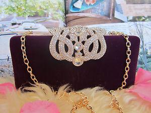 NEW - Womens Clutch Crossbody Handbag Purse Bag-Purple Velvet