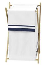 Sweet Jojo Designs Kid Baby Clothes Laundry Hamper for White Navy Hotel Bedding