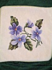 New listing Needlepoint Pillow Cover Wool - Brushed Velvet Back - Zipper - Lovely Violets