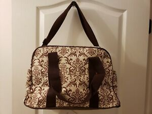 "Ellie & Luke Brown Paisley Diaper Bag Tote 16""x10""x7"" T4"