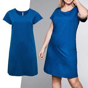 hübsches Sommer Basic Kleid Gr.56/58 Jerseykleid Shirtkleid Cotton royal blau