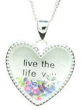 "925 sterling silver ""Live the life you love"""" floating heart pendant & necklace"