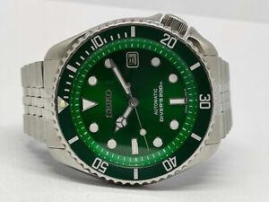 VINTAGE GREEN SUNBURST MOD SEIKO DIVER 7002-7009 AUTOMATIC MEN'S WATCH SN 552162