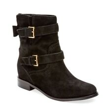 New Kate Spade Sabina Bootie Bow Black Suede Leather Moto Ankle Boots Sz 5.5