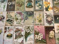 Pretty~Lot of 25 Easter~Flowers & Scenes~ Vintage~Postcards~in Sleeves-s-41