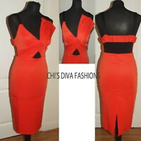 NEW EX ASOS Bow Bust Cut Out Strappy Midi Dress - Orange Size UK 8-18