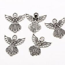 Angel Alloy Bead Tibetan Silver Charms Pendant Fit Jewelry Making 26x24mm 10pcs