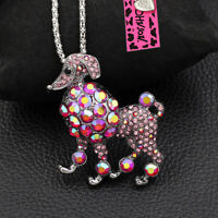 Betsey Johnson Crystal Rhinestone Poodle Dog Pendant Chain Necklace/Brooch Pin