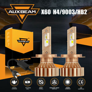 AUXBEAM H4 9003 HB2 LED Headlight High Low Beam Bulb Fanless for Car Motorcycle