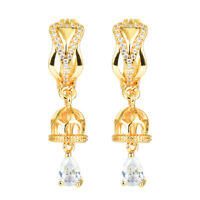 Women Yellow Gold Plated White Cubic Zirconia Hoop Huggie Drop Earrings Jewelry