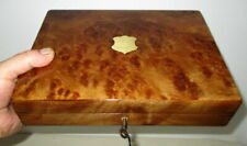 More details for lovely smaller size victorian burr walnut topped box cigars,watches etc.with key