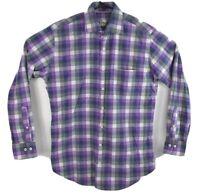 Peter Millar Mens Plaid Long Sleeve Button Up Shirt Purple Cotton Size Medium