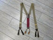 TRAFALGAR beige SUSPENDERS reptile leather fittings ONE SIZE twill canvas