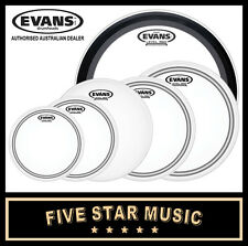 """EVANS EC2S FROSTED 6 PCE DRUM SKIN ROCK EMAD SET 10"""" 12"""" 14"""" 14"""" 16"""" 22"""" HEADS"""