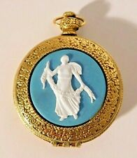 New listing Vtg. Max Factor Diana Classic Blue Cameo Fob Style Watch Powder Compact Nos