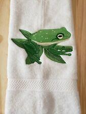 GREEN TREE FROG HAND TOWEL SET CUSTOM EMBROIDERED