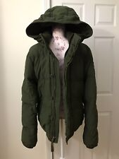 Abercrombie & Fitch A&F Kempshall Down Hooded Puffer Jacket Coat Green Small